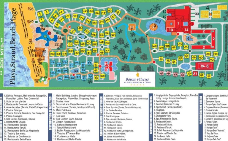Grand Bavaro Princess Punta Cana resort map