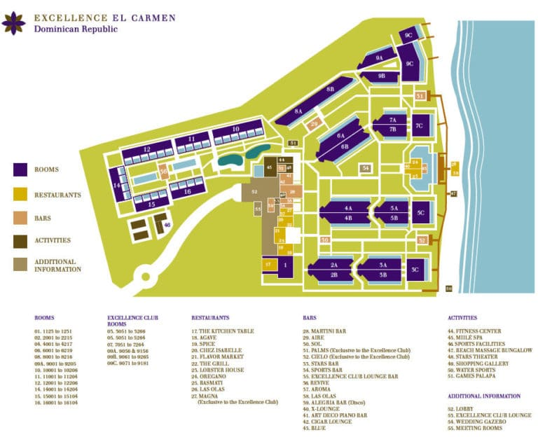 Excellence El Carmen Resort map