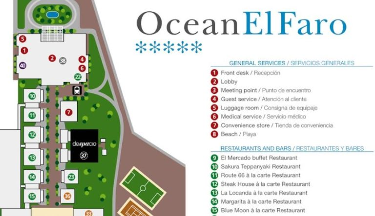 Ocean el Faro Punta Cana resort map