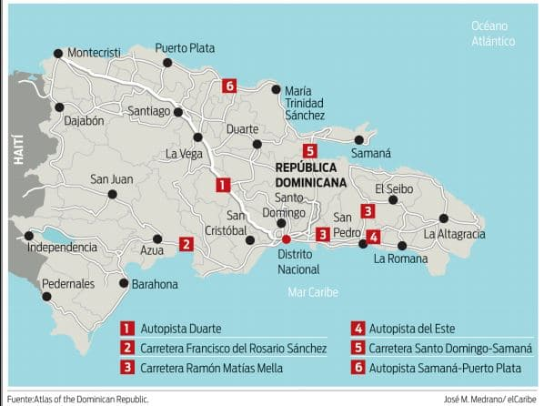 road map of the Dominican Republic